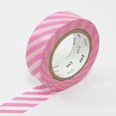 Stripe Pink - Japanese mt Washi Masking Tape, Scrapbooking, Collage, Gift Wrapping - JapanLovelyCrafts