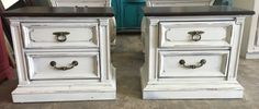 Here are two super sturdy nightstands that would match pretty much any bedroom set or the dresser SOLD!! for $275 https://www.pinterest.com/shabbychictexas/my-shabby-chic-nightstands/