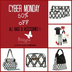 CYBER MONDAY- 50% OFF ALL Bags & Accessories - Holiday Shopping at Baya Collections!  #cybermondaydeals #cybermondaydeals #holidayshopping #christmasshopping #gifts #fashion #baby #motherhood