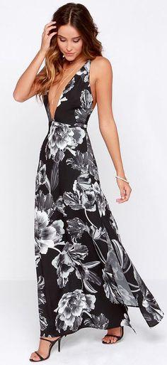 #fashion #white #black #grey #maxidress