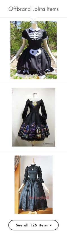 """""""Offbrand Lolita Items"""" by sakuuya ❤ liked on Polyvore featuring dresses, lolita, gloomth, gothic lolita dress, rib cage dress, skeleton dress, doll dress, gothic dress, black and giles"""