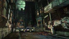 Crime Alley in Gotham City. Batman Arkham Knight, Batman Arkham Asylum, Arkham City, Crime, Greatest Villains, Batman Beyond, Alleyway, Video Game Art, Places