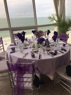 Wedding table setting - DIY - lavender and purple - Grand Plaza St. Pete Presidential Ballroom