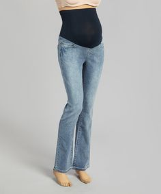 Another great find on #zulily! Medium Wash Over-Belly Maternity Bootcut Jeans - Women by Mom & Co. #zulilyfinds