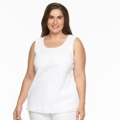 Plus+Size+Croft+&+Barrow+Lace-Front+Scoopneck+Tank