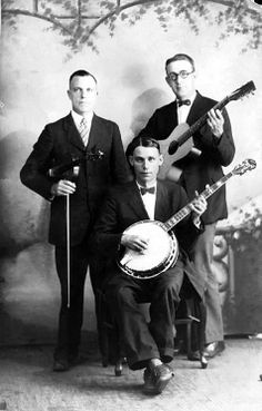 Charlie Poole and the North Carolina Ramblers - banjo, fiddle and guitar -black and white,