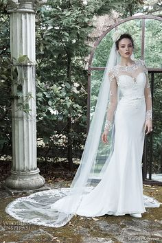 "Maggie Sottero Fall 2015 Wedding Dresses | Wedding Inspirasi | ""Vaughn"" -- Elegant, Illusion Lace Appliquéd Long Sleeve Column/Sheath Silhouette Bridal Gown With Round Neckline, Illusion Lace Appliquéd Back, Embroidered Lace Bodice, Sheath Skirt Featuring Chapel Length Train..........................."