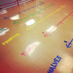 Teaching fractions on a number line, comparing and ordering, and equivalent fractions. Floor tape!!!  See this Instagram photo by @primaryperfectionist • 51 likes
