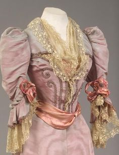 Silk Moire Gown Trimmed with Faux Pearls, 1894 Owned by Empress Maria Fyodorovna Designed by House of Worth