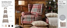 next Sherlock Occasional Chair - In check Stirling red charcoal, want dark feet. Occasional Chairs, Cool Chairs, Stirling, Front Rooms, Sofa Chair, Armchair, Sherlock, Home Furniture, Playroom