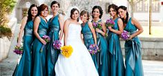 Teal Bridal Party Love the sash wrap part of dress.  Not feeling the yellow in this color scheme