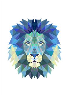 Nursery print - Geo Lion in Blue by To the Moon & Back Paper Studio