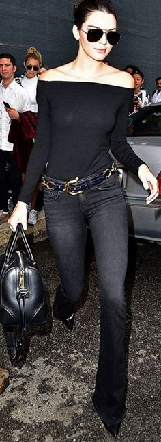 Kendall Jenner is Wearing Saint Laurent Classic 59mm Aviator Sunglasses, H&M Ribbed Off-the-Shoulder Top, Rag & Bone Jeans, Gianvito Rossi Pumps | All In Black Celebrity Street Style | Who What Wear #kendall