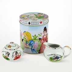 Alice in Wonderland Creamer & Sugar Set ($20) WANT WANT WANT!!!  As soon as I get a house, I've already made the decision that I will collect adorable and unique teapots.