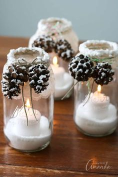 Maybe it would look better with a shorter glass. You could use battery powered candles too. Creative Pinecone Crafts for Your Holiday Decorations --> Snowy Pinecone Candle Jars Christmas Mason Jars, Noel Christmas, Rustic Christmas, Christmas Projects, Handmade Christmas, Holiday Crafts, Christmas 2017, Christmas Candles, Christmas Ideas