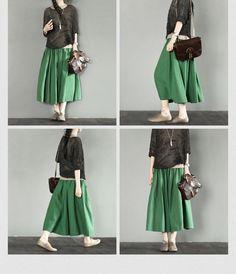 Green Cotton Sun Skirt Causel Women Clothes