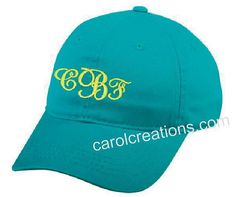 Perfect for vacationing, the beach, bridesmaids gifts and just summer fun!  Monogrammed Baseball Cap by CarolsCreationsLA on Etsy, $15.00
