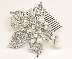 Silver Flower Leaf Hair Comb ~ Cicily in Silver with Pearl - Bridal Hair Accessories
