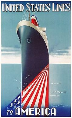 United States Lines To America 1947 Poster http://stores.ebay.com/Vintage-Poster-Prints-and-more