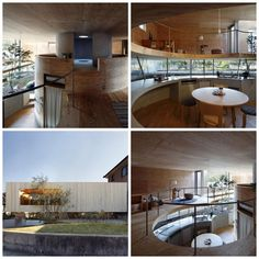 """Created by UID Architects, this contemporary masterpiece is located in Tamano, Okayama, Japan and aptly titled """"Pit House."""" This custom Japanese home may seem completely circular from the inside, but on the exterior this residence looks to be a standard rectangular abode floating just above the ground. The lower level is actually where the """"pit"""" part comes in at–the kitchen and other public spaces being eye-level with the ground. Image credit: hiconsumption.com"""