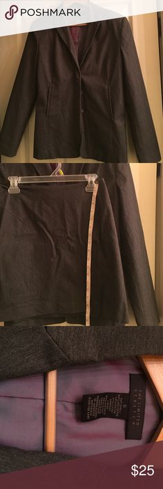 """Good condition Limited Stretch mini-skirt suit! Dark gray with purple shimmer lining, I consider this a """"juniors"""" suit because the skirt is a little shorter.  Great quality suit, not lightweight at all, nice stretchy material The Limited Jackets & Coats Blazers"""