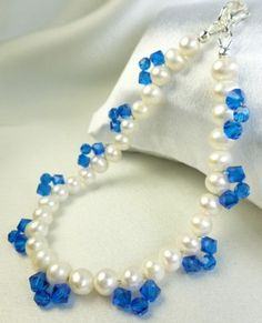 White Freshwater Pearl Bracelet Blue Swarovski Faceted Crystals 8 inch   dianesdangles - Jewelry on ArtFire