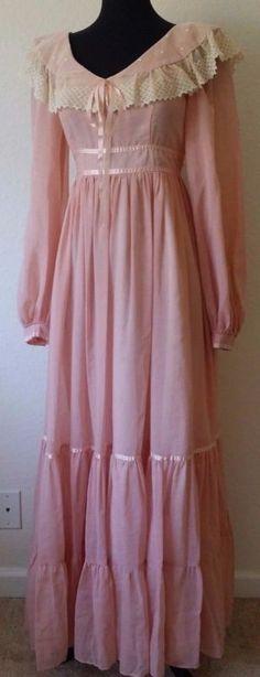 GUNNE SAX VTG 70s sheer VICTORIAN wedding LACE prairie hippie maxi peach dress S