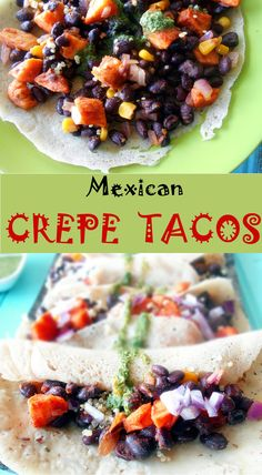 A savory version of crepes. This is a recipe for Mexican Tacos in a crepe is Gluten-free, and vegan. Top with Coriander Chutney. Includes Sweet Potatoes, Quinoa, Black beans and red onions. Perfect weeknight dinner idea for vegetarians too.