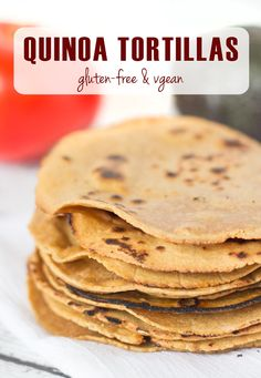 Homemade Gluten-Free Quinoa Tortillas - made with only whole-grain flours (and no corn)! And they're also #vegan! Click through for the recipe --> www.queenofquinoa.me