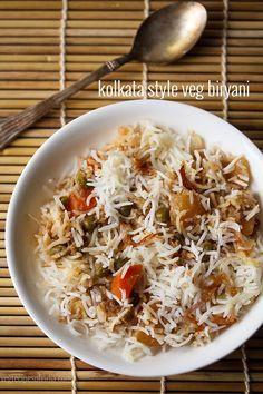 kolkata style veg biryani recipe with stepwise pics. flavourful biryani from bengali cuisine. kolkata biryani is derived from lucknowi biryani Tasty Vegetarian Recipes, Veg Recipes, Indian Food Recipes, Cooking Recipes, Healthy Recipes, Recipies, Bangladeshi Food, Bengali Food, Veg Biryani