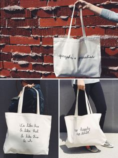 Loving these '90s hip-hop totes.