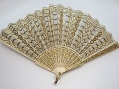 Antique Carved Fan With Gilding, Pique, Sequins, Spangles & Metallic Embroidery