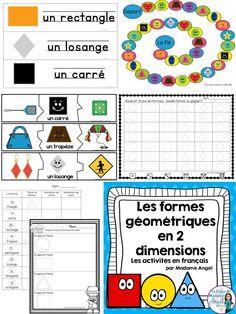 Les formes géométriques en 2 dimensions!  Wonderful set of math centers in French to teach 2D geometry!