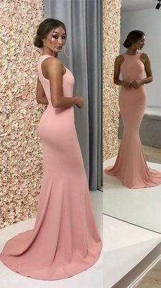 Stylish Halter Blush Elastic Satin Mermaid Long Prom Dresses with Train,Charming Evening party Dresses
