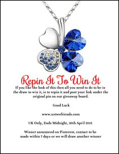 Repin this image to win this necklace. Ends 30th April 2013.  Post the links of your repins under this image. All I Want, My Love, The Draw, 30th, Giveaway, Heart Ring, Competition, Jewellery, Group
