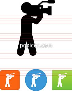 Person With A Hand Held Pro Video Camera Icon - Illustration from Popicon