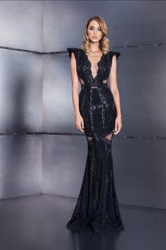 CRISTALLINI - Exquisite elegance in a mermaid silhouette. Maid Of Honour Dresses, Maid Of Honor, Mermaid Silhouette, Black Sequin Dress, Queen, Fall Winter, Sequins, Gowns, Style Inspiration