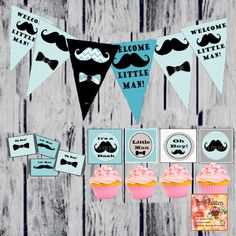 Printable Mustache Baby Shower Party Favor Party Pack