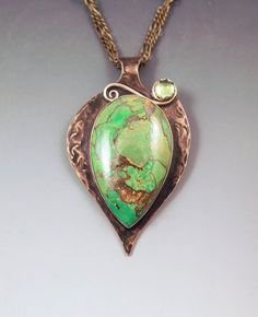 Mohave Green Turquoise and Peridot- August Birthstone- Smokey Bronze Patina- Abstract Design- Metal Art Necklace by RedPaw -- Awesome products selected by Anna Churchill