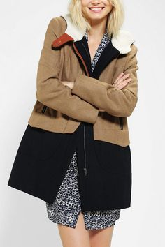 Urban Outfitters Members Only Homecoming Colorblock Wool Coat in Khaki (TAN)