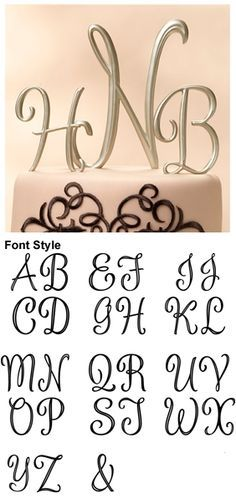 Gold Monogram Cake Topper