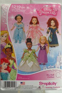 "Simplicity 1219 Disney Princess Fashion 18"" Doll Clothes"