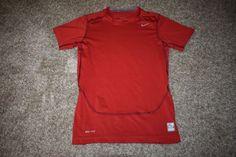 Nike Pro Combat Compression Boys Youth Red Gray Short Sleeve Shirt Large 522801 #Nike #Everyday