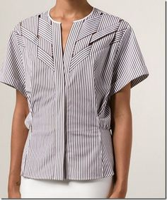 Sigrid - sewing projects: Blouse with woven strips of fabric – part 6 / finished Blouse Patterns, Blouse Designs, Iranian Women Fashion, Neckline Designs, Blouse Styles, Sewing Clothes, Fashion Dresses, Clothes For Women, Sewing Projects
