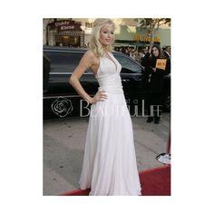 Celebrity Dress - Paris Hilton Style White Satin Ankle-length V-Neck Celebrity Dress (280 AUD) found on Polyvore