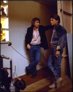Steven Spielberg chats to a smoking Michael J Fox on the set of Back to the Future