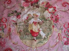 Country French Richloom Pink Fragonard Fabric  Caneo Toile 1+ YD NEW