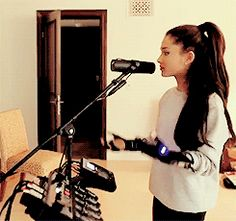 Ariana Grande practicing for the Honeymoon Tour with the mimu gloves