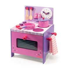 Violette's Wooden Cooker from Djeco. This stylish toy wooden cooker in pink & purple is a popular set with lots of kitchen accessories. Pretend Play Kitchen, Play Kitchen Sets, Play Kitchens, Kitchen Playsets, Play Shop, Traditional Toys, Handmade Wooden Toys, Unique Toys, Wooden Puzzles