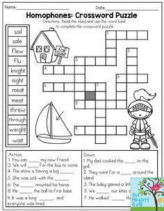 Week 24 - LANG ARTS: Homophones: Crossword Puzzle- Read the clues and use the word bank to complete the crossword puzzle. Fun Word Work activity from the Back to School NO PREP Packet for Grade! 3rd Grade Activities, Word Work Activities, Spelling Activities, Language Activities, English Activities, Homonyms Activities, Homeschooling 2nd Grade, Word Work Games, English Grammar Worksheets